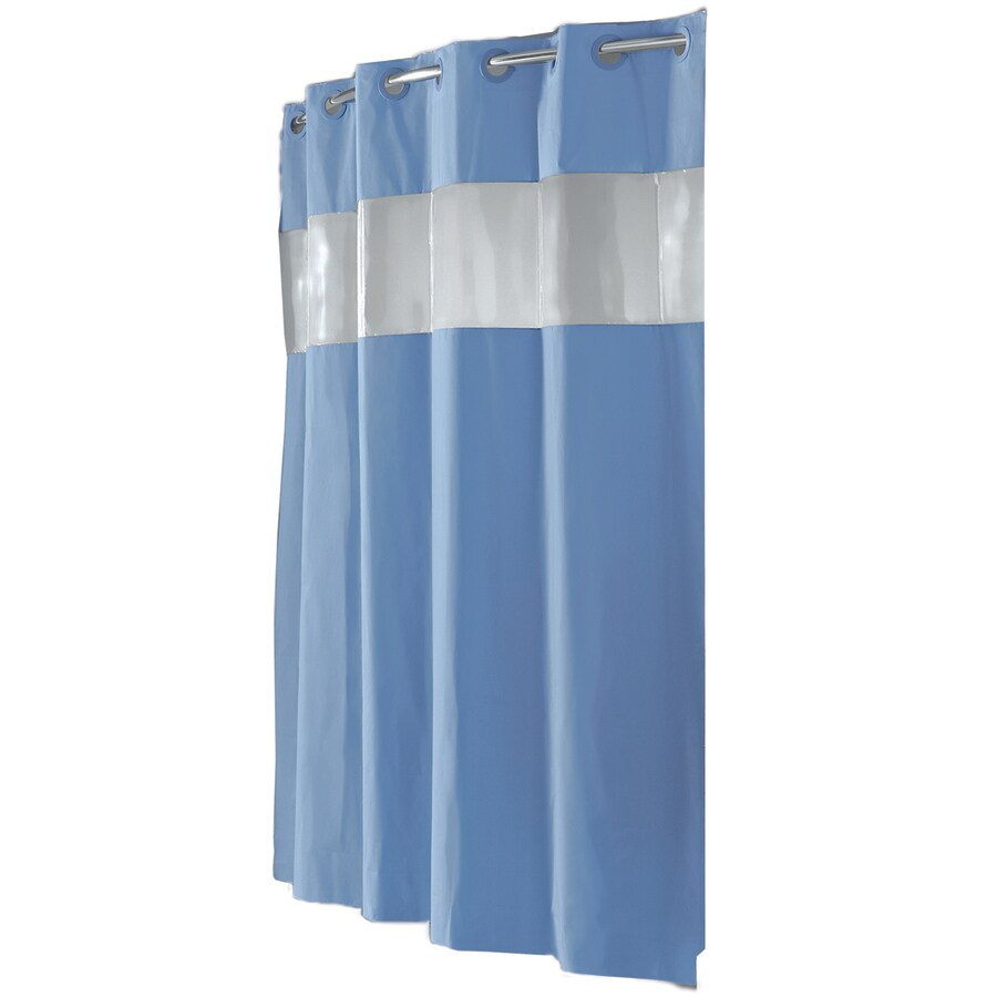 74 Shower Curtain Hookless Eva Peva Blue Vision Solid Shower Curtain 74 In X 71 In