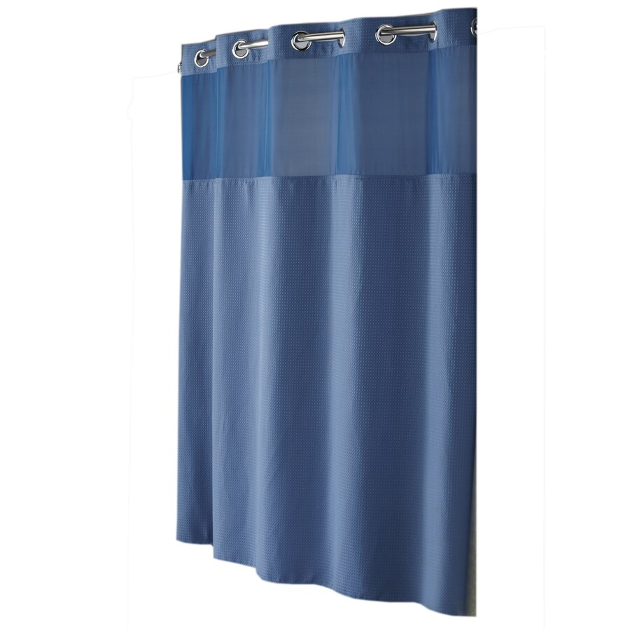 74 Shower Curtain Hookless Polyester Moonlight Blue Diamond Pique Solid Shower