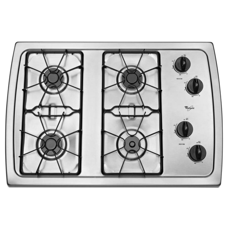 Whirlpool Countertop Stove Whirlpool 30 In Stainless Steel Gas Cooktop Common 30 In Actual