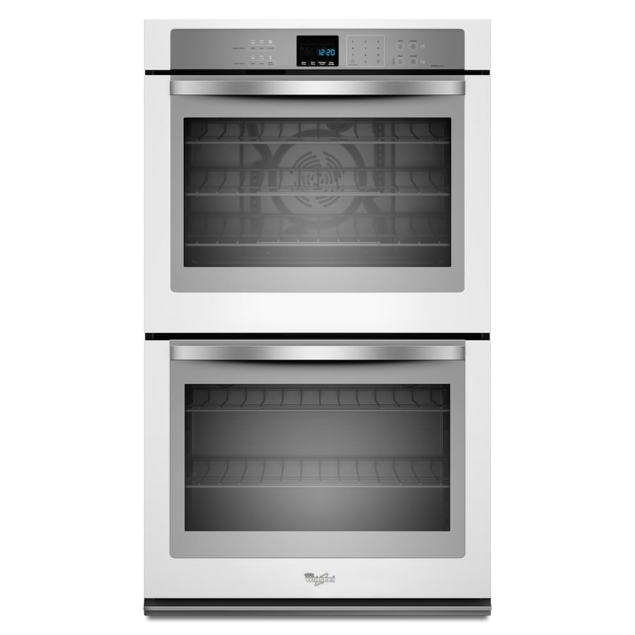 Whirlpool self cleaning convection double electric wall oven white ice common