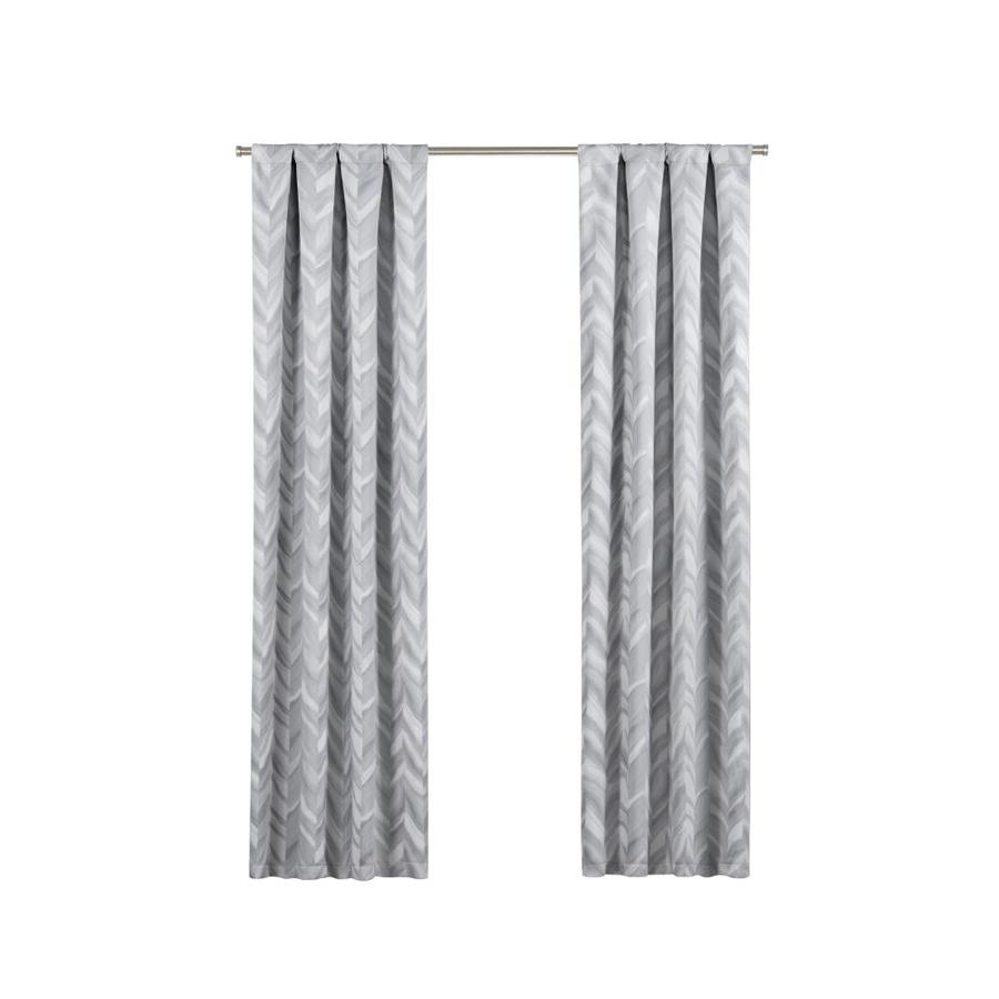 Black And White Chevron Blackout Curtains Eclipse Haley 95 In Silver Polyester Rod Pocket Blackout Single