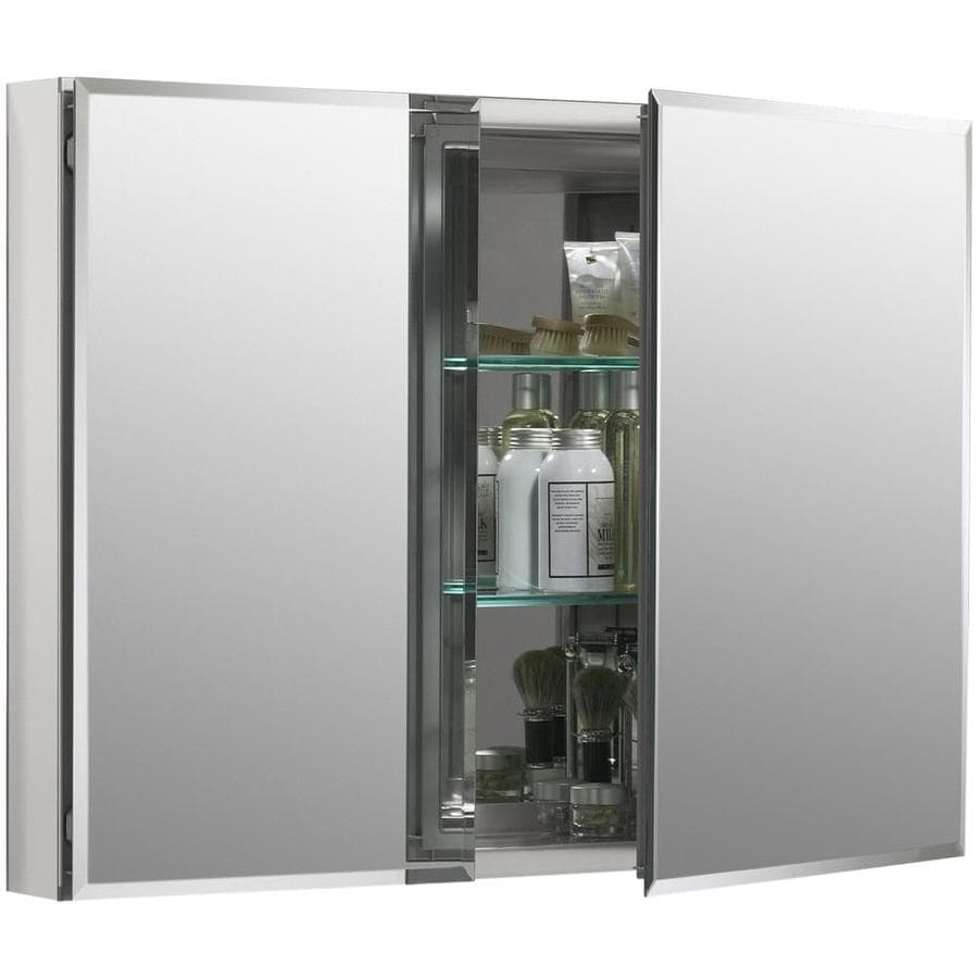 Recessed Shaving Cabinets Kohler 35 In X 26 In Rectangle Recessed Aluminum Mirrored Medicine