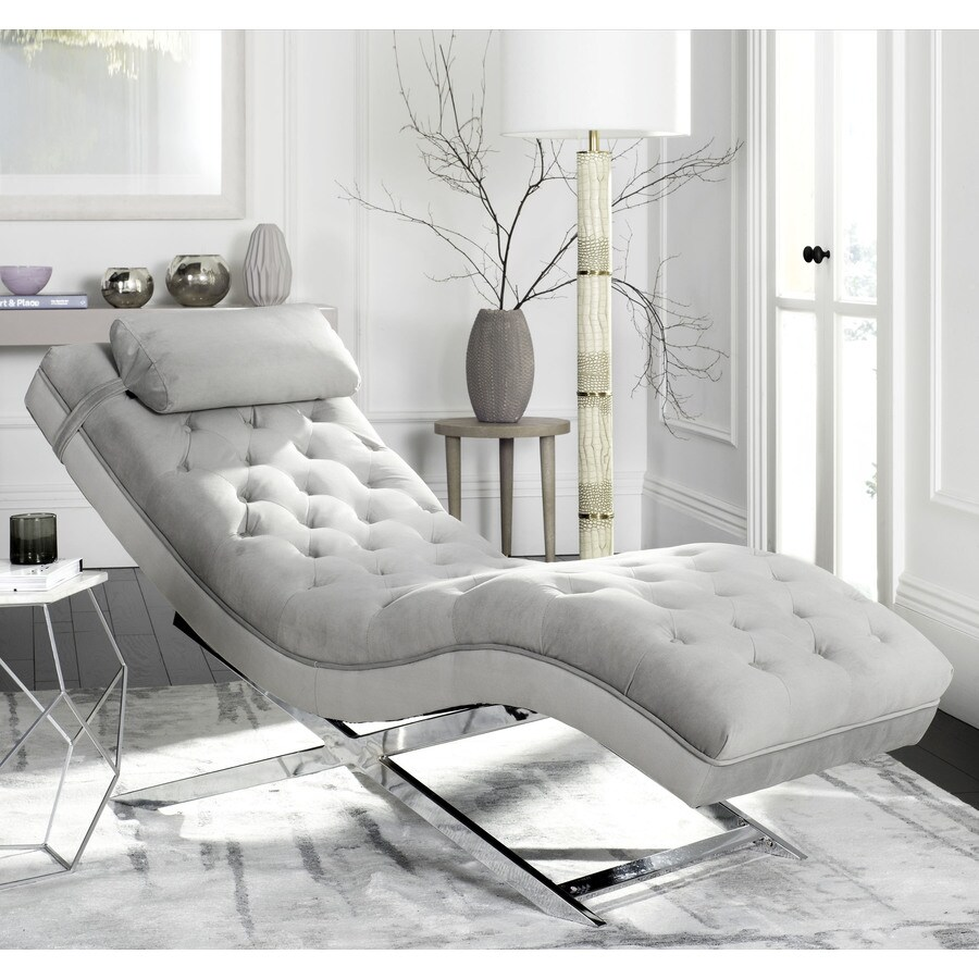 Modern Lounge Safavieh Monroe Modern Gray Chaise Lounge At Lowes