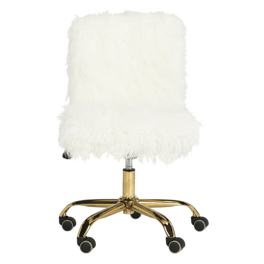 White Desk Chair Wood Safavieh Whitney White Gold Contemporary Task Chair At Lowes