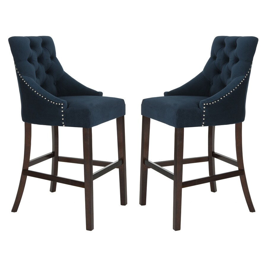 Kitchen Bar Stools On Sale Safavieh Eleni Set Of 2 Navy Bar Stools At Lowes
