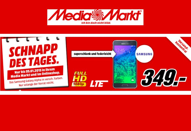samsung galaxy alpha bei media markt f r 349 euro mobilenote. Black Bedroom Furniture Sets. Home Design Ideas