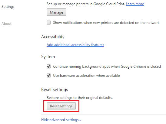 get rid of ads by reset settings