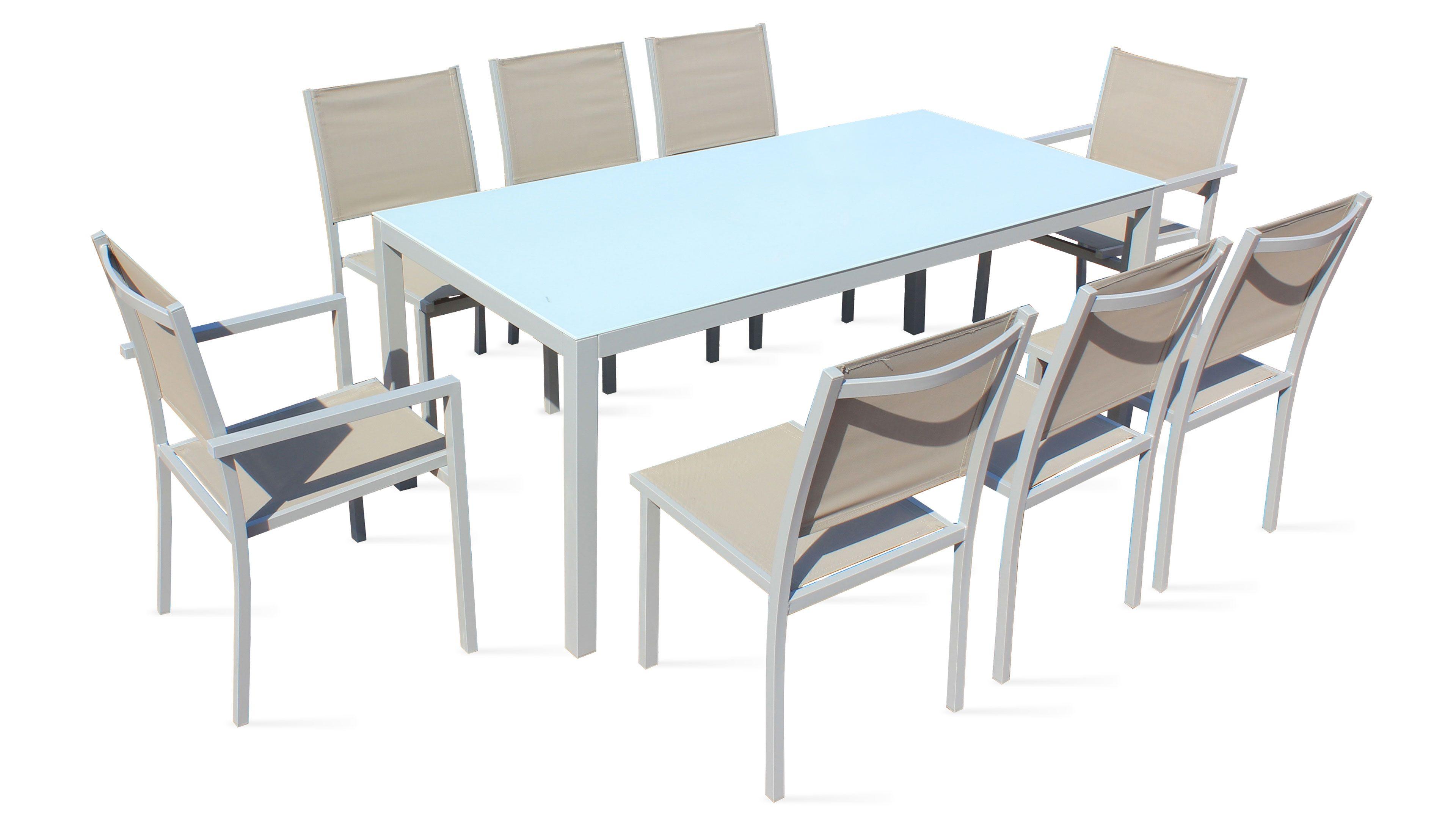 Salon Textilène Table + 8 Fauteuils Encastrables | Salon De Jardin ...