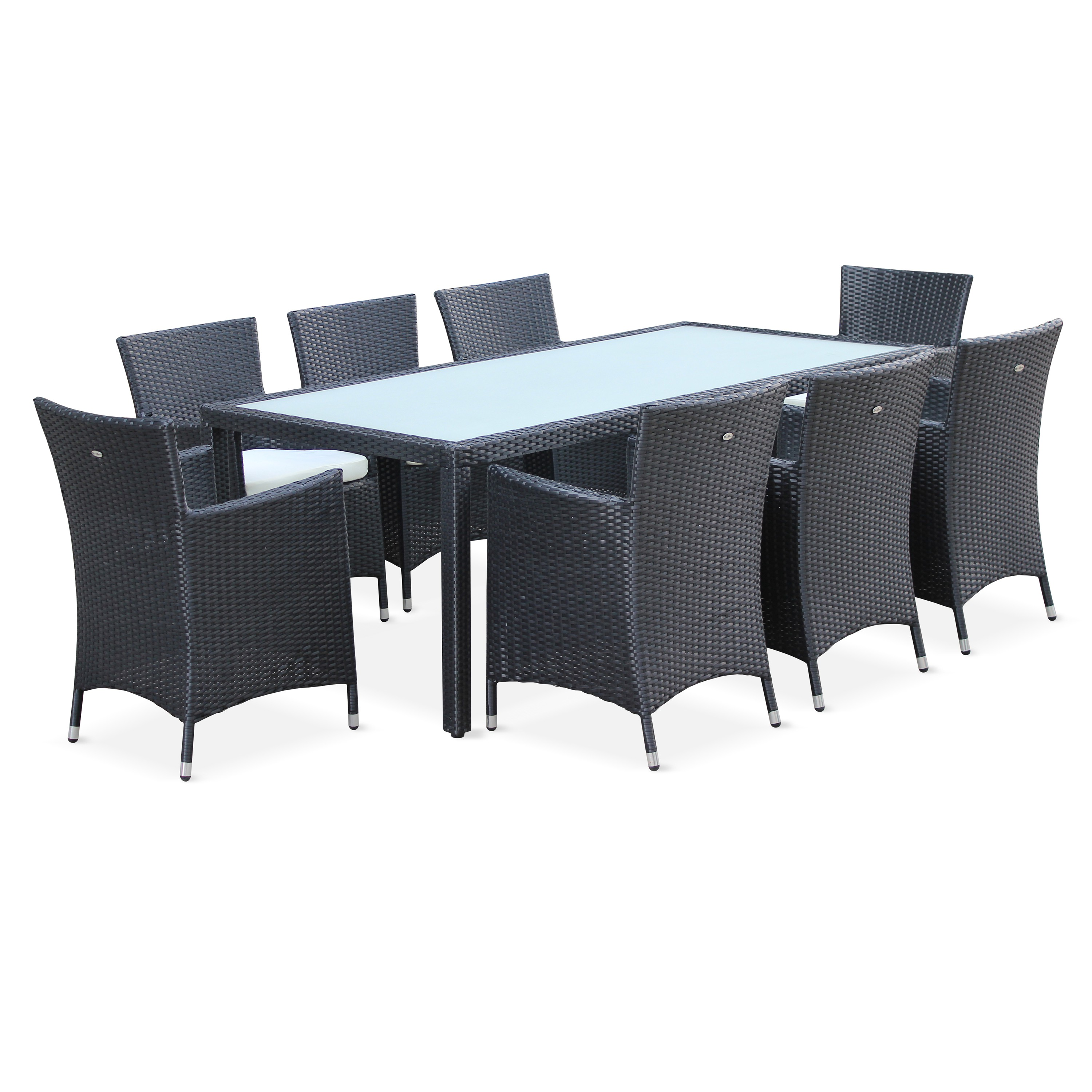 Salon De Jardin Resine Structure Aluminium Table De Jardin 8 Places Capri