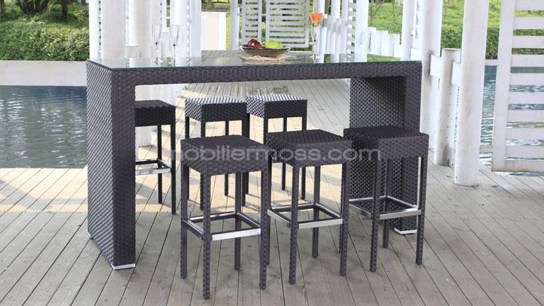 Salon De Jardin Noir Tresse Table De Bar Jardin