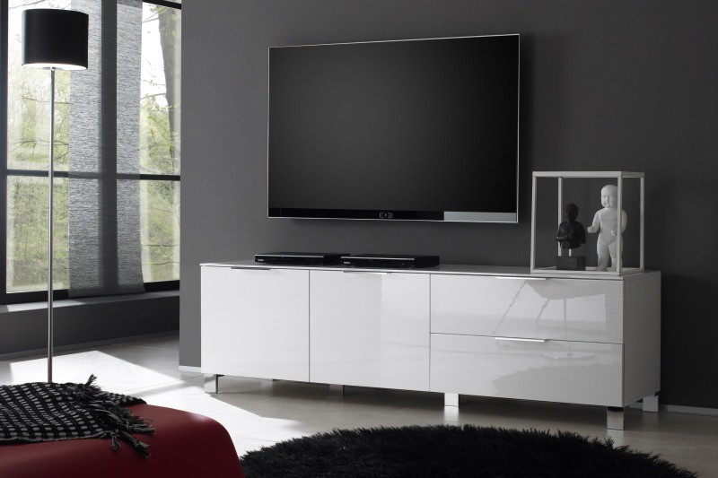 Meuble Tv Bas Design Blanc Laque Cocon - Meuble Tv Strass
