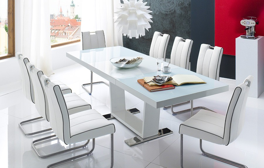 Chaise Cuisine Blanche Table A Manger Blanc Laque Extensible