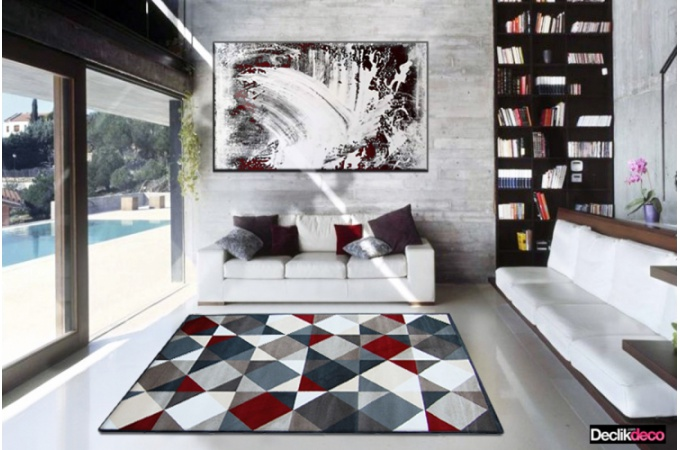 Design Italien Meuble Tapis Salon Gris Et Rouge