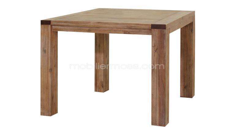 Table Design Extensible En Métal Et Bois - Wave Table Carrée Extensible Bois – Table De Lit A Roulettes