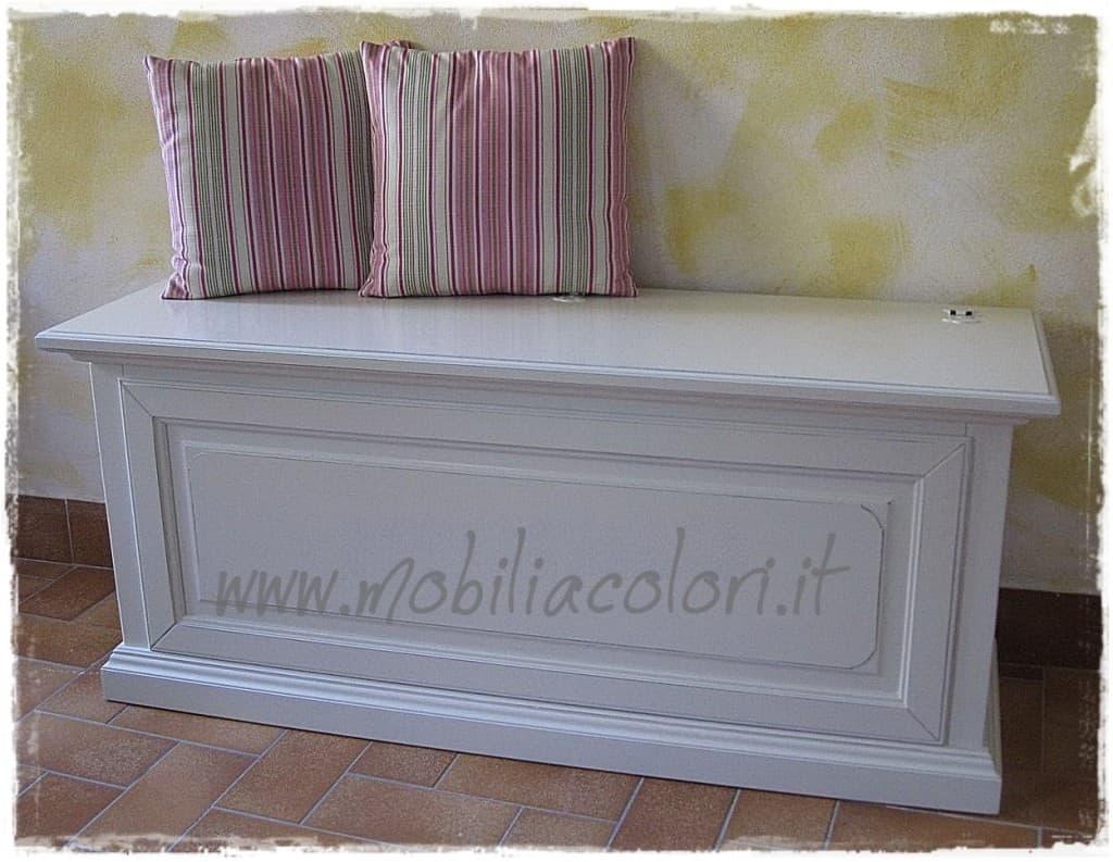 Cassapanca bianca baule cassapanca portabiancheria in legno