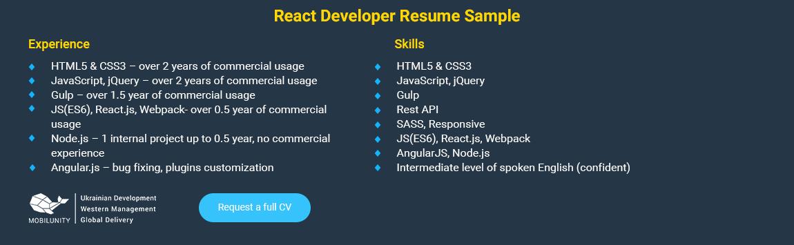 react developer resume sample