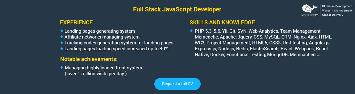 What Are Full Stack and Mean Stack Developers? Mobilunity - full stack developer resume