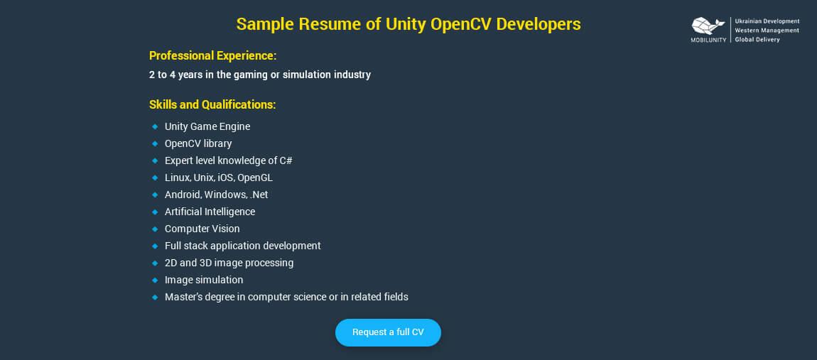 unity 3d developer resume sample