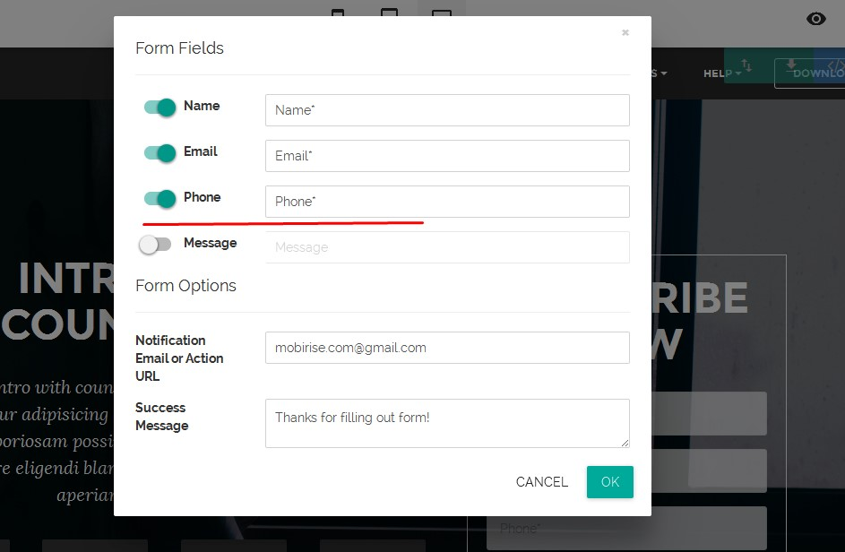 Free html website maker - how to make contact form fields mandatory?
