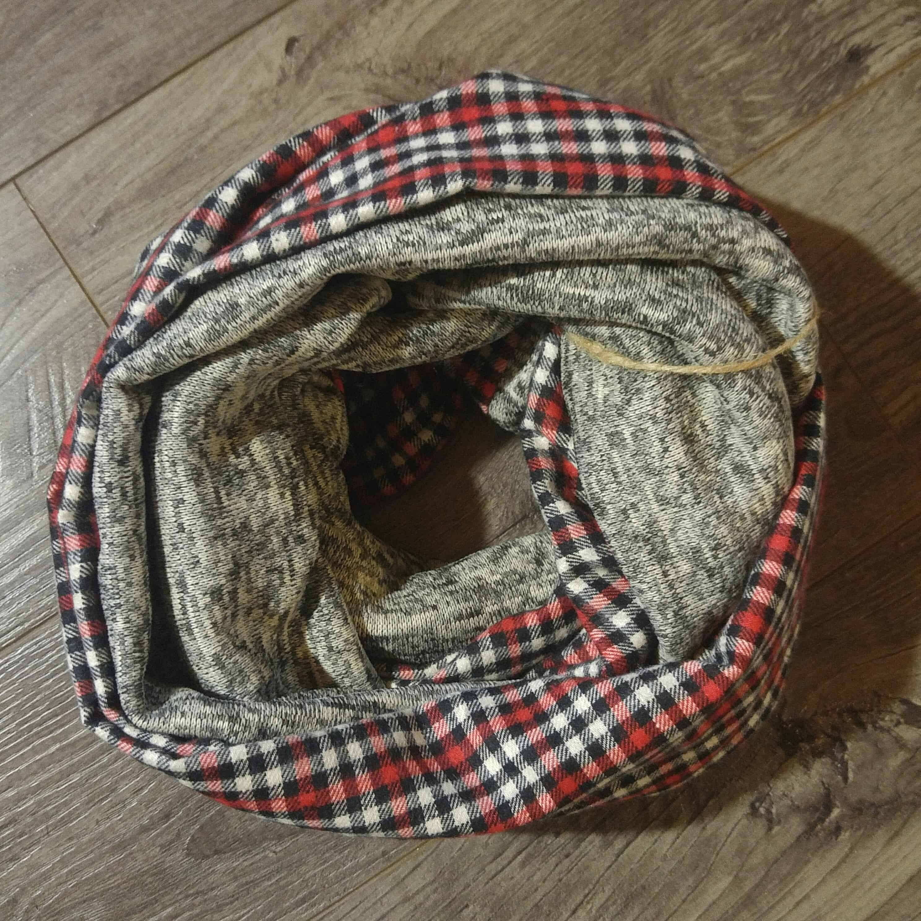 Plaid Taupe Deep Freeze Scarf Red Plaid Taupe Knit Fleece No Wool