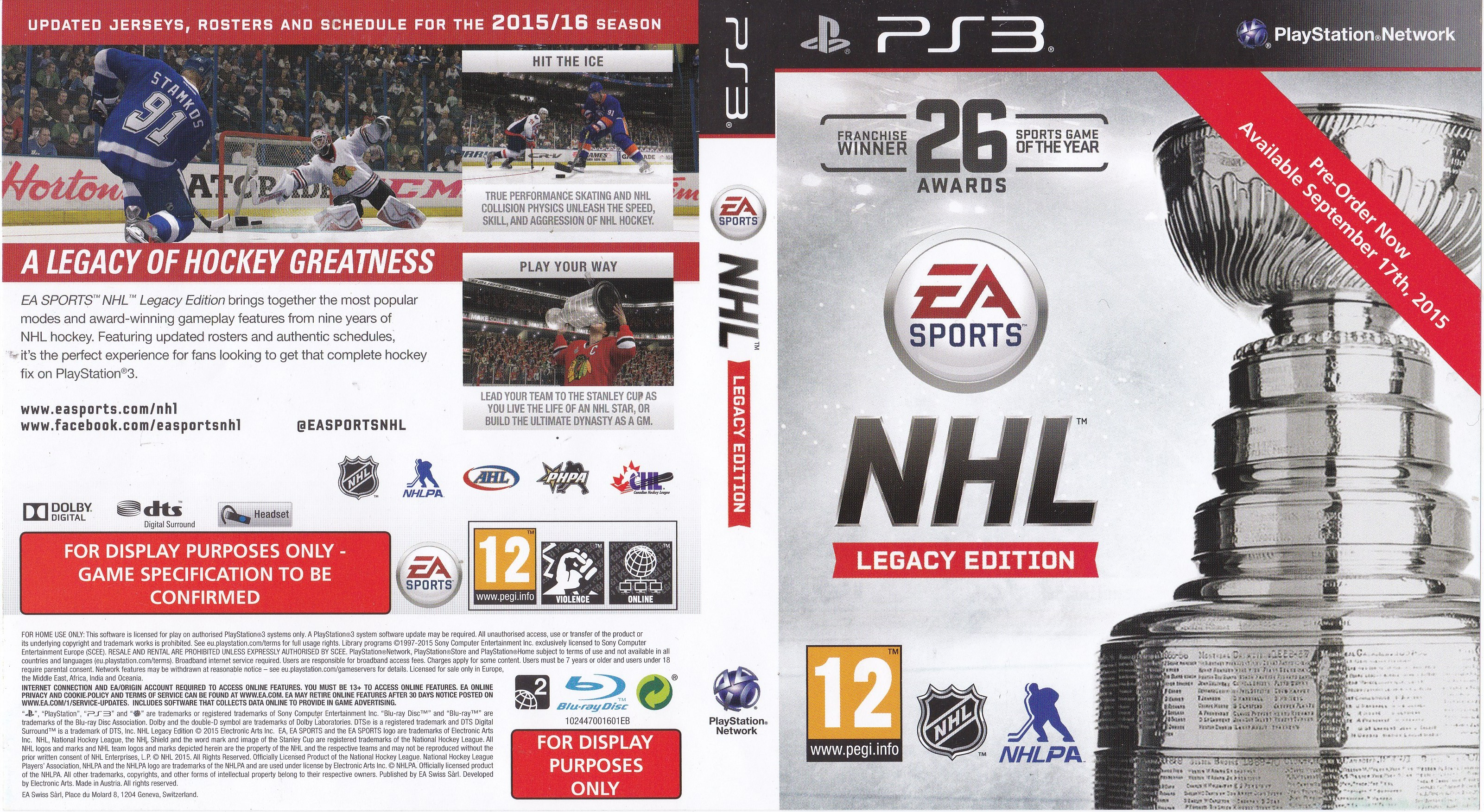 Edition For Ps3 Nhl Legacy Edition 2015 Promotional Art Mobygames