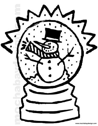 Printable Christmas Snowman Snow Globe Coloring Page