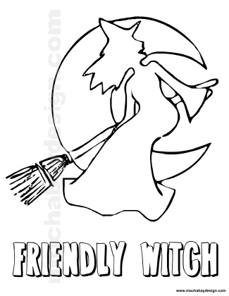 Flying Happy Witch Printable Halloween Kids Coloring Page