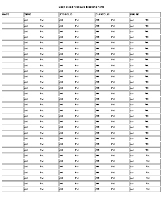 Printable Daily Blood Pressure Tracking Form