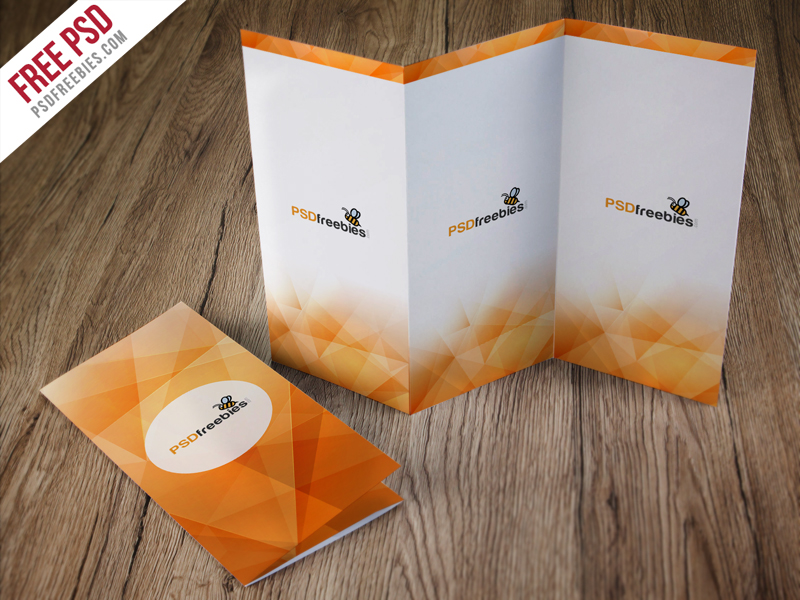 Tri-Fold Brochure on Table Mockup - Mockup Love - Tri Fold Brochures Free