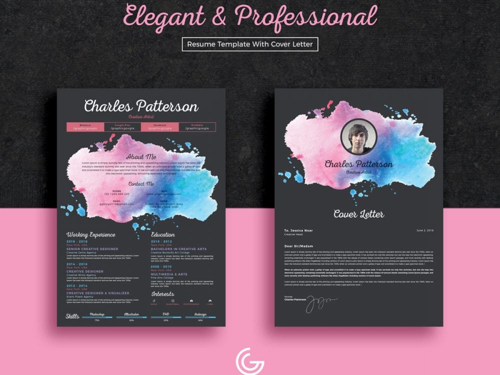 Elegant CV Resume Template Free Template With Cover Letter - Mockup