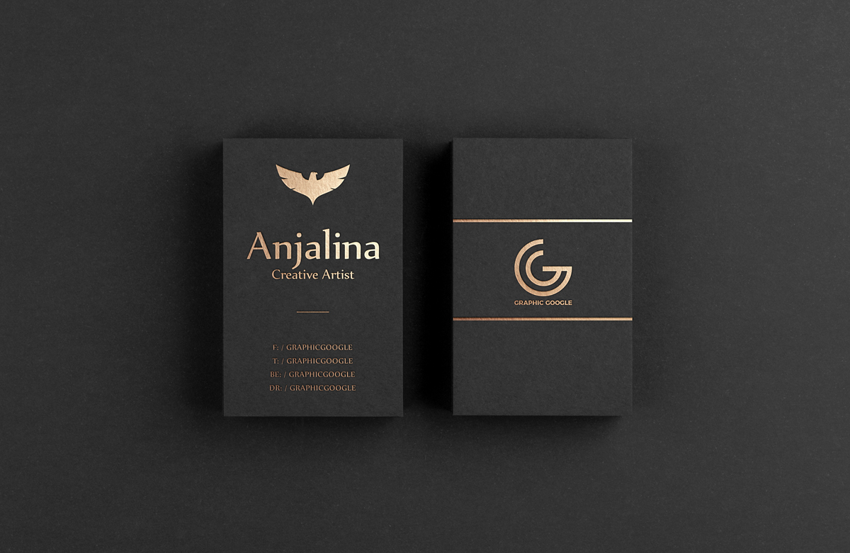 Invitation Card For Wedding App Gold Foil Business Card Mockup Psd Template - Mockup Free