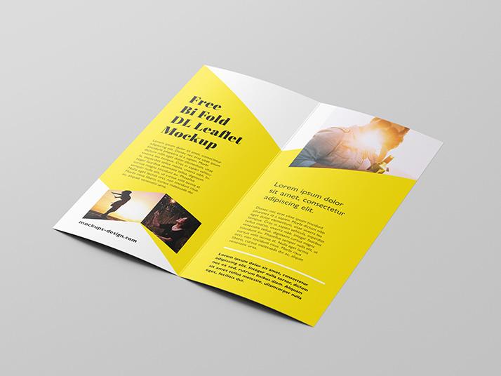 Free bi-fold DL brochure mockup - Mockups Design Free Premium Mockups