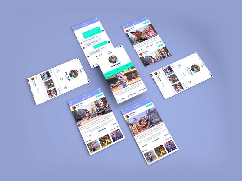 Isometric App Screens PSD Mockup MockupsQ