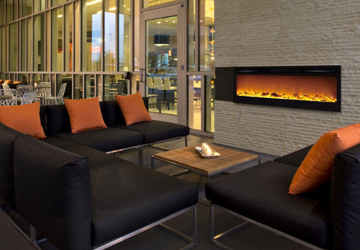 Electric Fireplace Built Into Wall 36 Inch Cynergy Log Built In Recessed Wall Mounted Electric Fireplace
