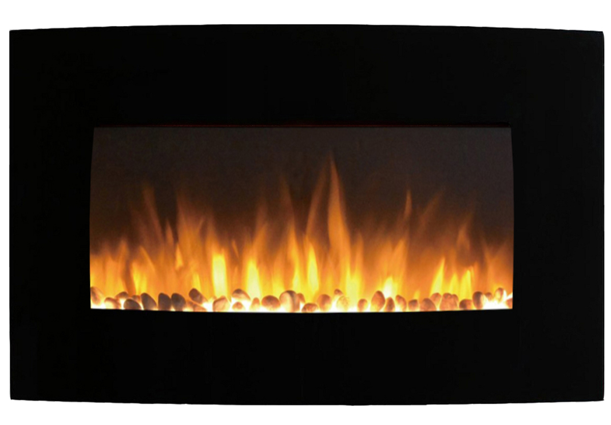 Curved Electric Fireplace Chelsea 35 Inch Curved Pebble Wall Mounted Electric Fireplace