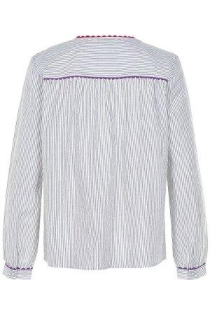 Numph. Blusa de rayas verticales, canesú y adornos en tripa de pollo.