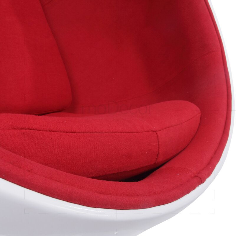 Lounge Sessel 2er Set Eero Aarnio Ball Chair Mit Rotem Polster - Modecor