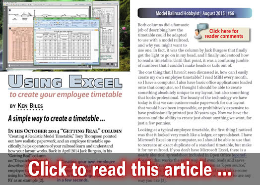 Using Excel to create your employee timetable Model Railroad - time table excel