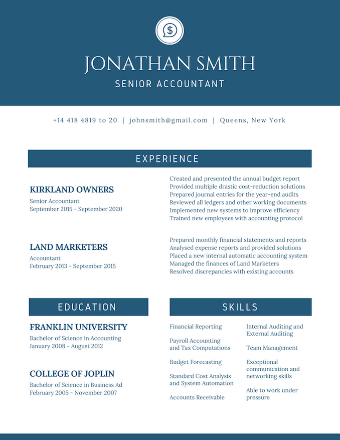 template for resume canvas