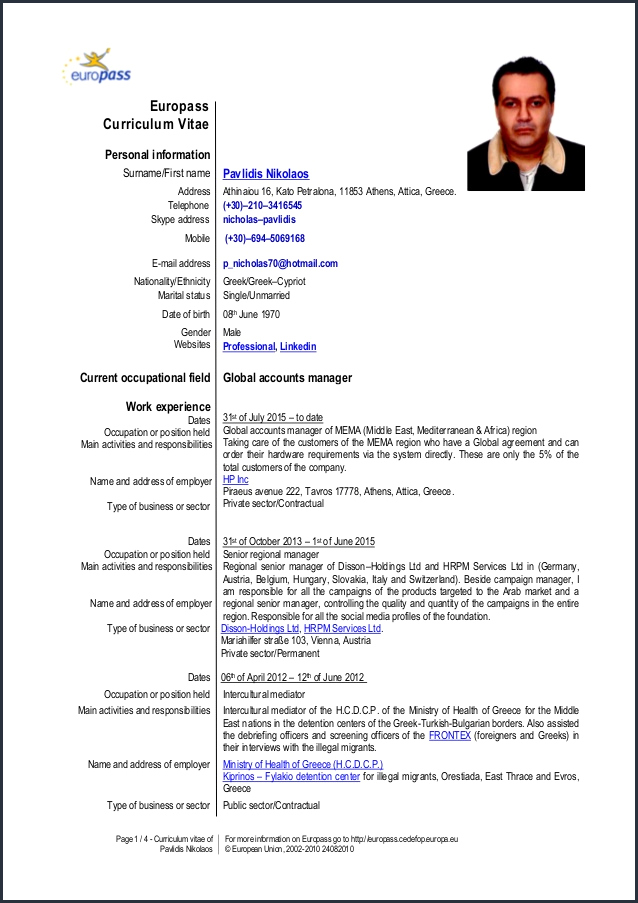 europass cv template word