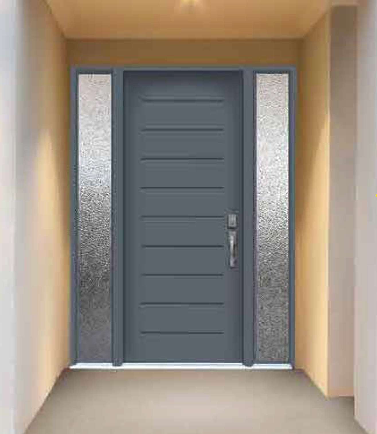 Modern Contemporary Front Entry Door Design Collection Frosted Glass Modern Exterior Front Door With 2 Side Lites And Multi Point Locks Installed By Modern Doors Ca In Markham Ontario Modern Doors