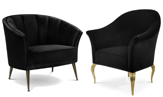 Black Chair For A Luxury Black White Living Room Decor