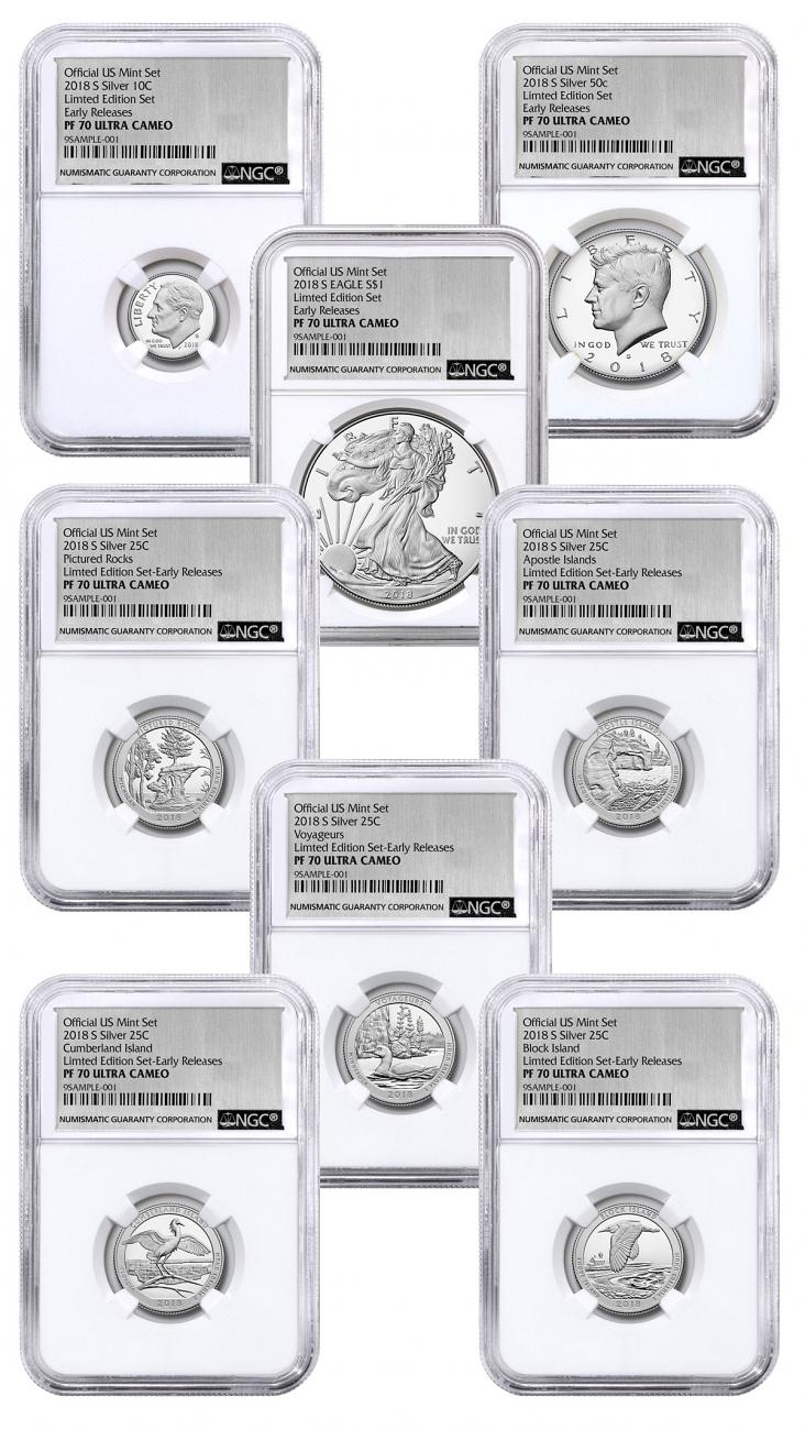 Mint Set 8 Coin Set 2018 S U S Limited Edition Silver Proof Coins Set Ngc Pf70 Uc Early Release Silver Foil Label Moderncoinmart