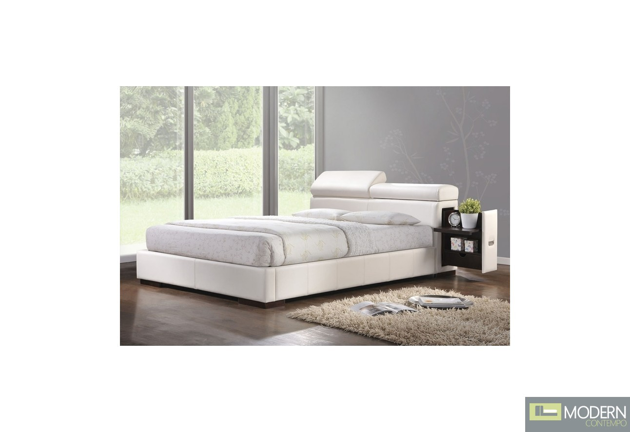Modern Bed Stand Modern Upholstered Bed In White Leatherette With Built In