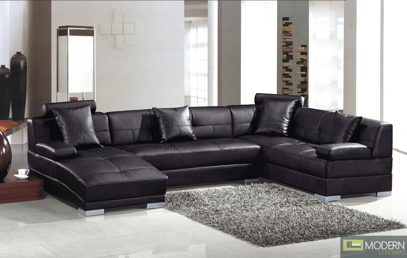 Divani Casa Encore Divani Casa 3334 Ultra Modern Black Bonded Leather Sectional Sofa