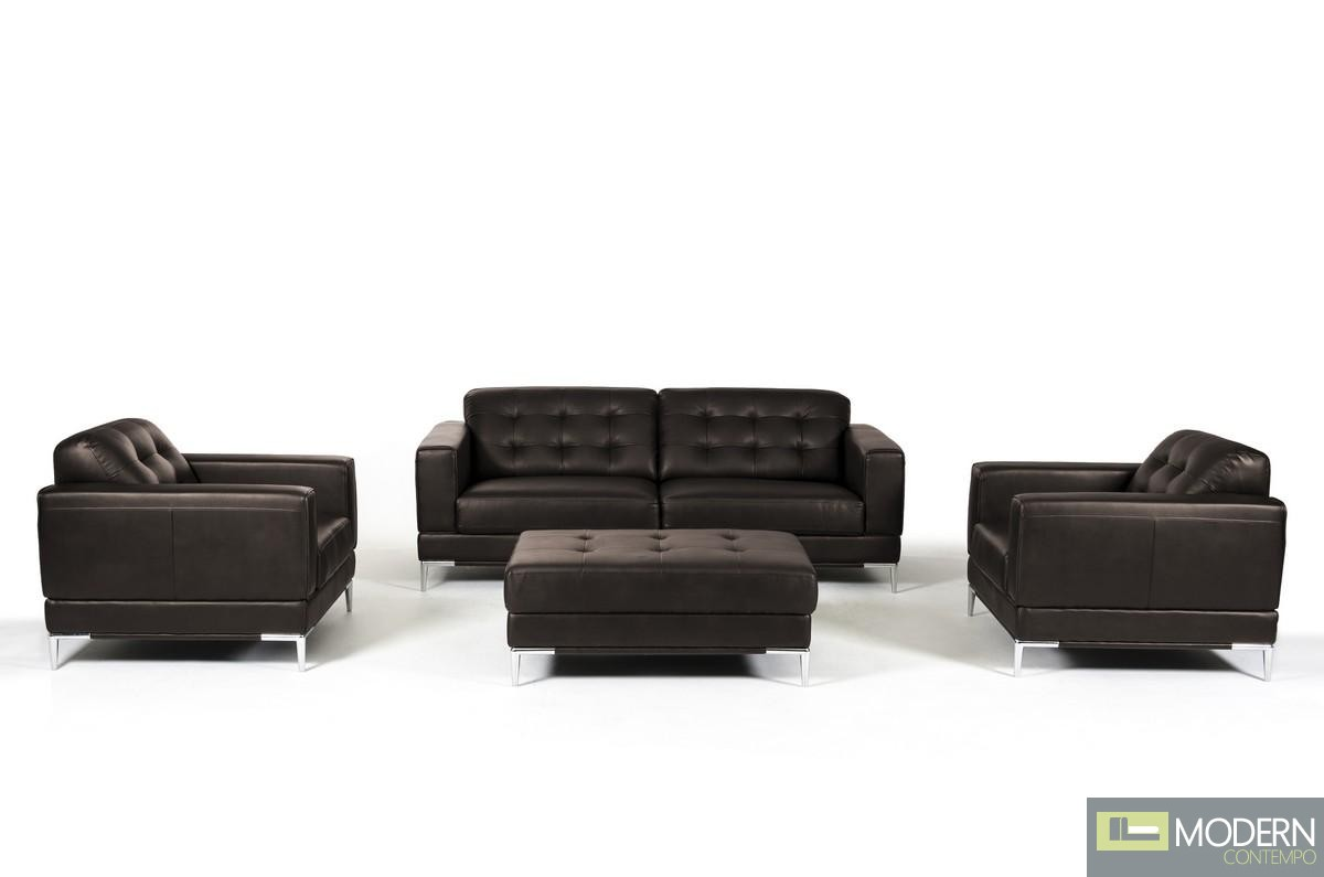 Divani Sofa Set Divani Casa Larkspur Modern Brown Leather Sofa Set