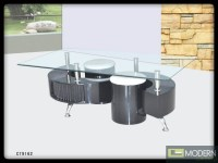 Modern Contemporary Tempered Glass Coffee Table with Black ...