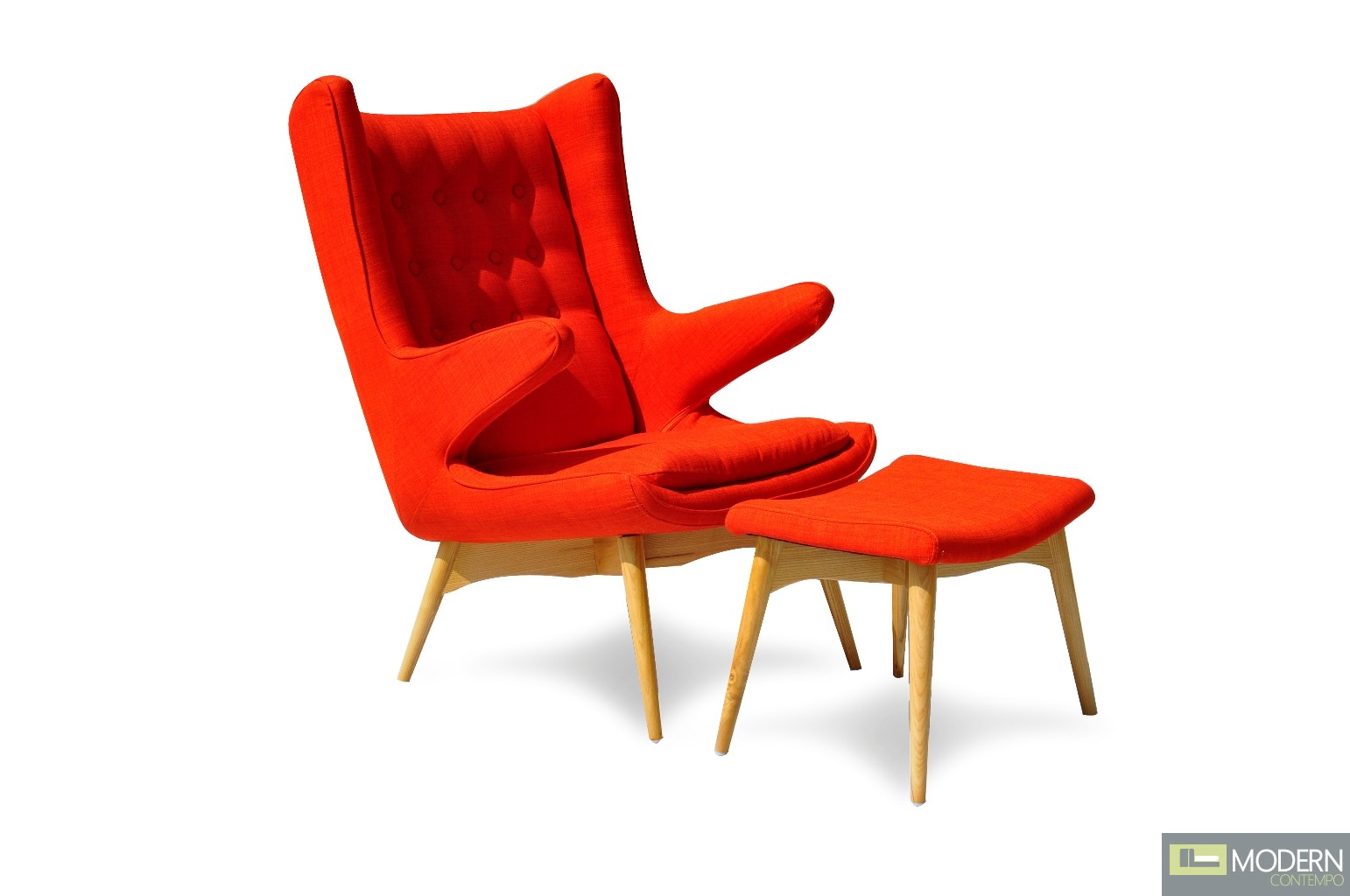 Orange Mid Century Modern Chair Moderno Mid Century Chair And Ottoman Orange