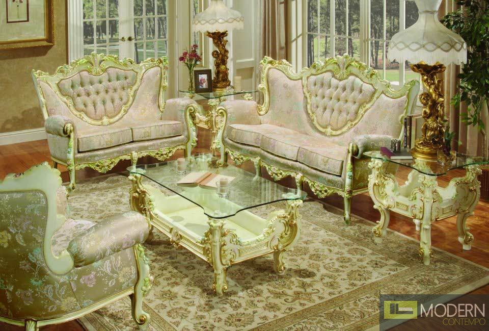 3PC High end Classic Provincial Victorian Sofa Loveseat Chair - victorian living room furniture