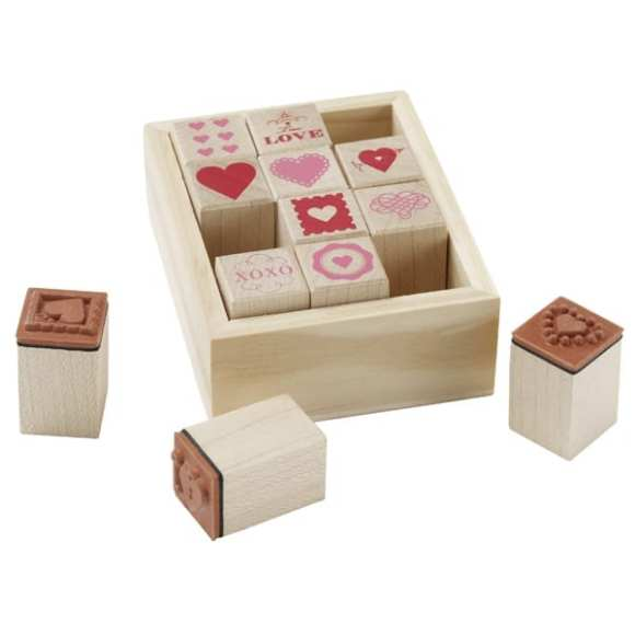 Wood Stamp Hearts